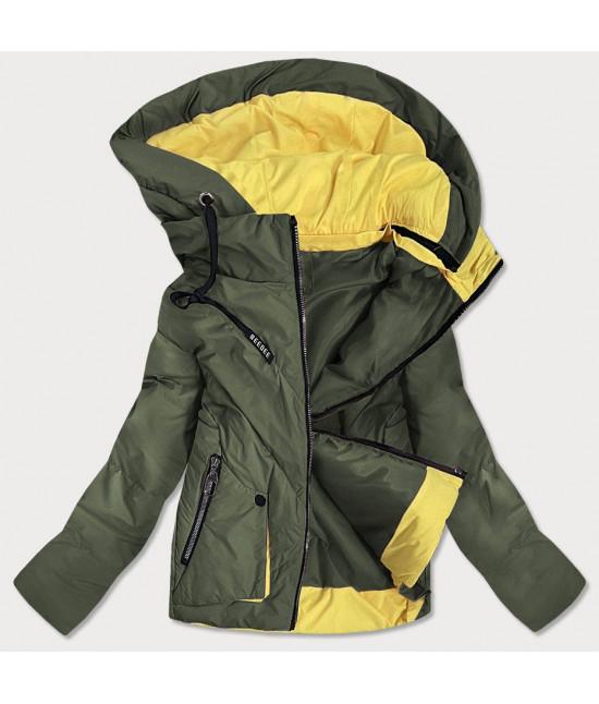 Krátka dámska asymetrická jarná bunda MODA0955 khaki