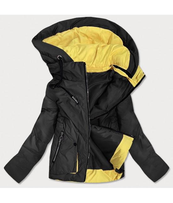 Krátka dámska asymetrická jarná bunda MODA0955 čierna