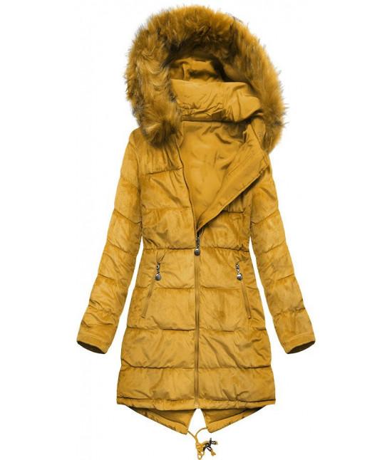Dámska obojstranná zimná bunda MODA911 žltá veľkosť S