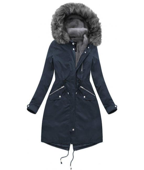Dlhá dámska zimná bunda parka MODA802 tmavomodro-šedá