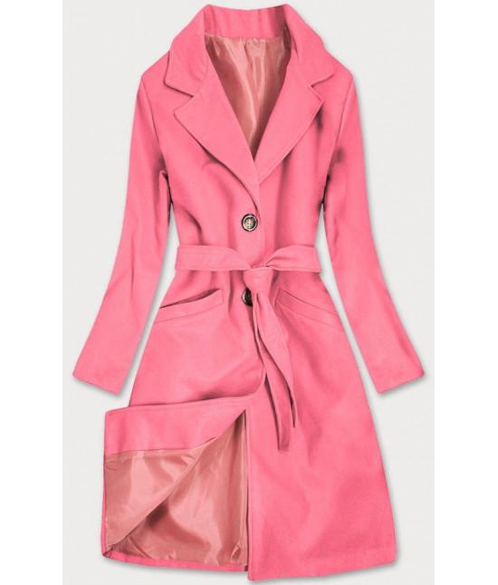 Dámsky klasický kabát s opaskom  MODA2800 ružový