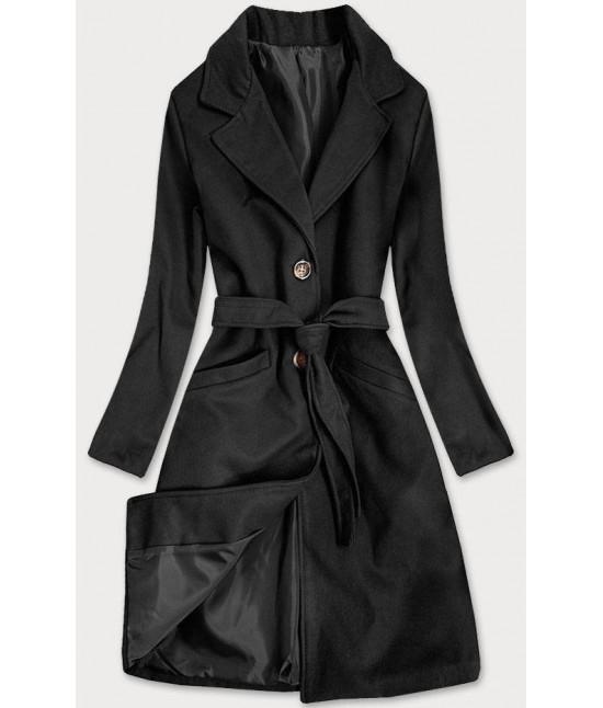 Dámsky klasický kabát s opaskom  MODA2800 čierny
