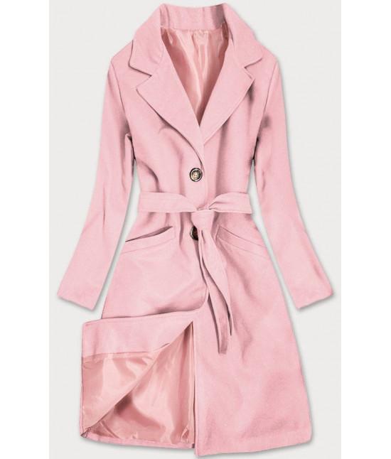 Dámsky klasický kabát s opaskom  MODA2800 púdrový ružový