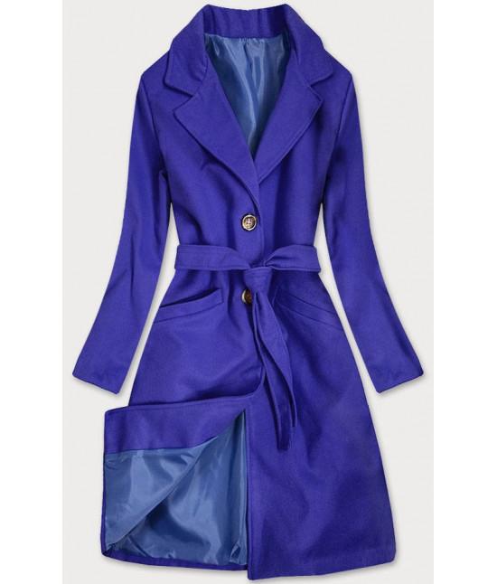 Dámsky klasický kabát s opaskom  MODA2800 modrý