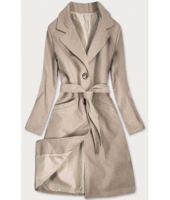 Dámsky klasický kabát s opaskom  MODA2800 béžový