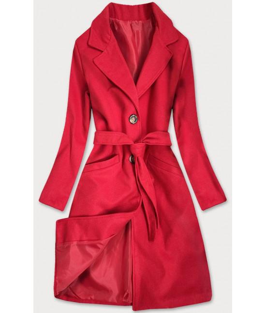 Dámsky klasický kabát s opaskom  MODA2800 červený
