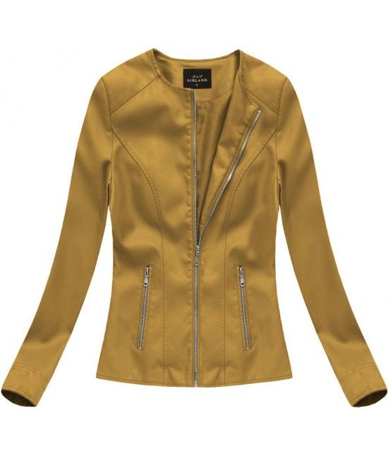 Dámska eko-kožená bunda horčicová 5328BIG