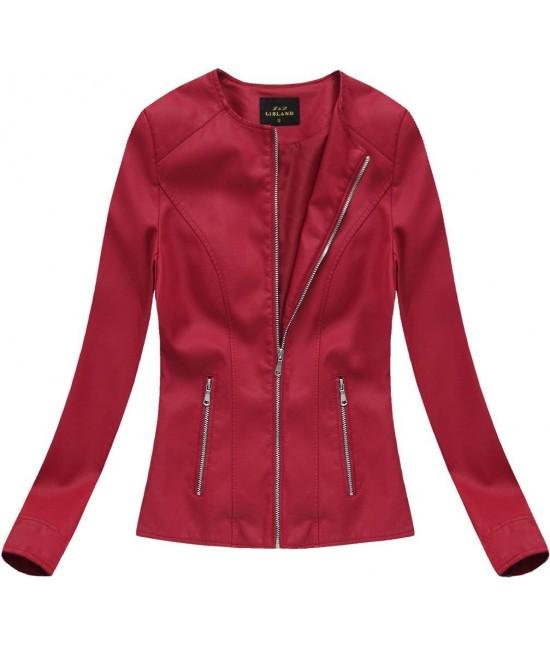 Dámska eko-kožená bunda červená 5328BIG