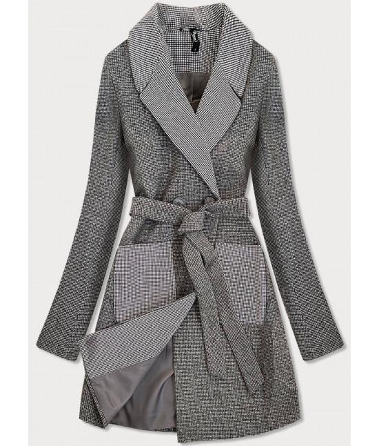 Dámsky dvojradový jarný kabát MODA705 šedý