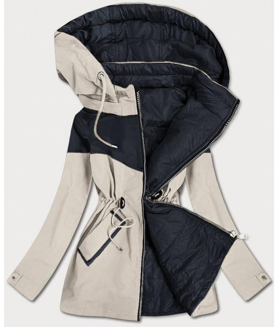 Dvojfarebná jarná obojstranná dámska bunda MODA010 béžovo-modrá veľkosť M