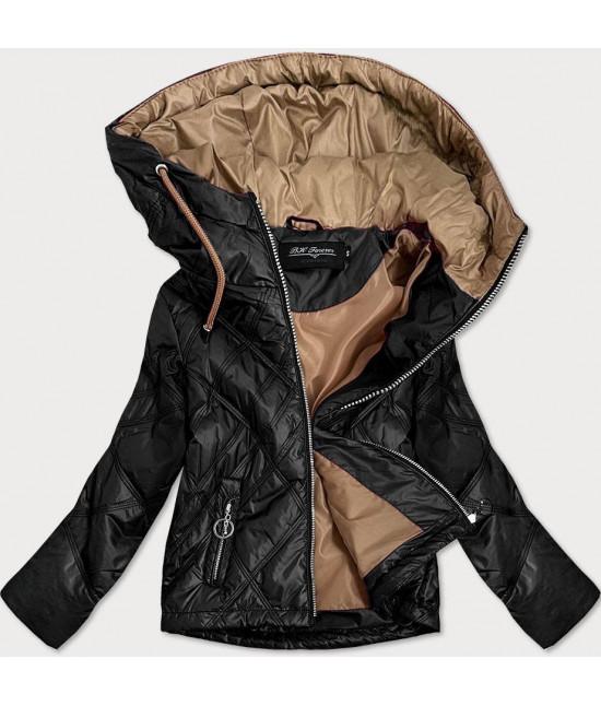 Ľahká dámska jarná bunda MODA004BIG čierna 4XL