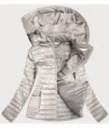 Lesklá dámska prechodná bunda MODA815 béžová