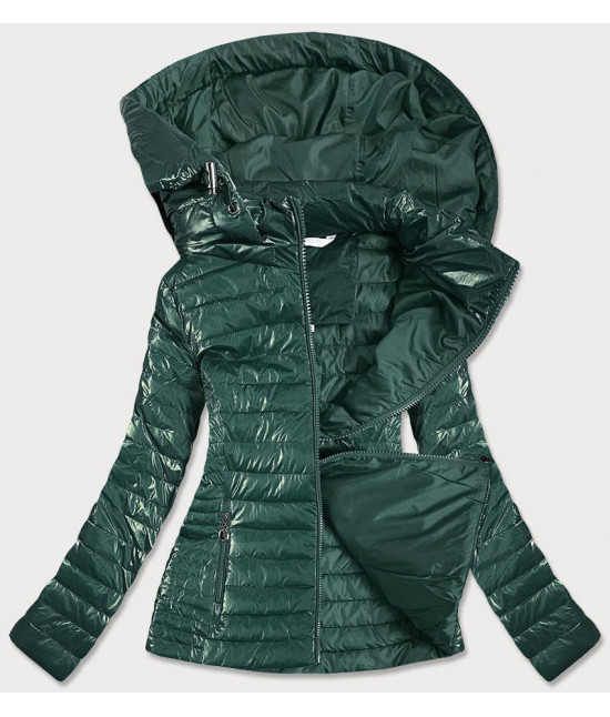 Lesklá dámska prechodná bunda MODA815 zelená