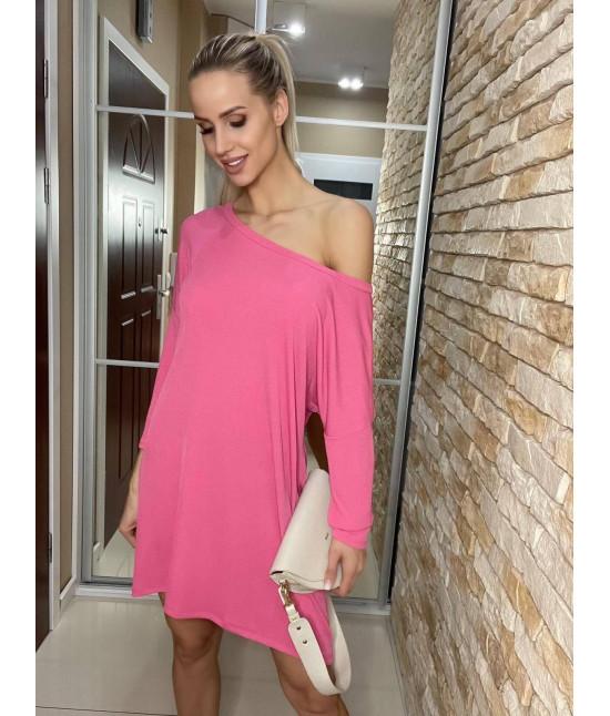Dámske šaty s padajúcimi ramenami  MODA667 ružové