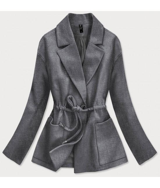 Krátky dámsky kabát MODA727 tmavošedý
