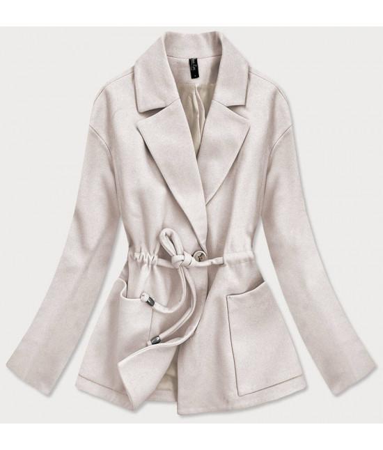 Krátky dámsky kabát MODA727 ecru
