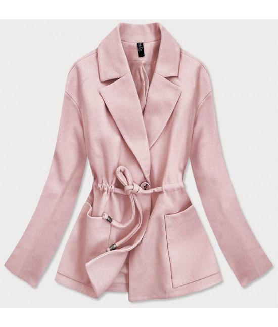 Krátky dámsky kabát MODA727 ružový