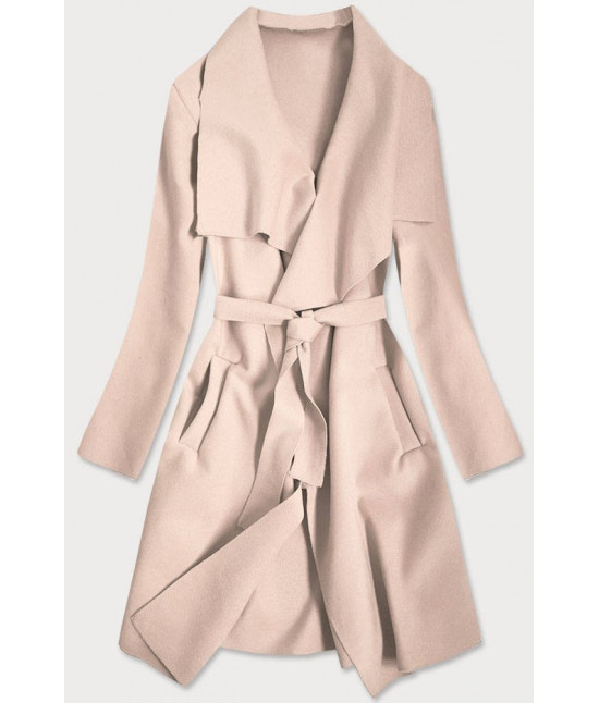Dámsky kabát MODA678 bežovo-ružový