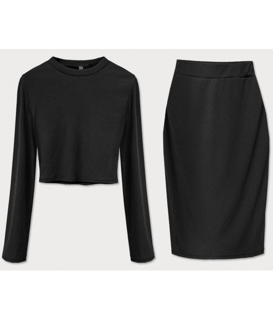 Dámsky komplet tričko + sukňa MODA654 čierny