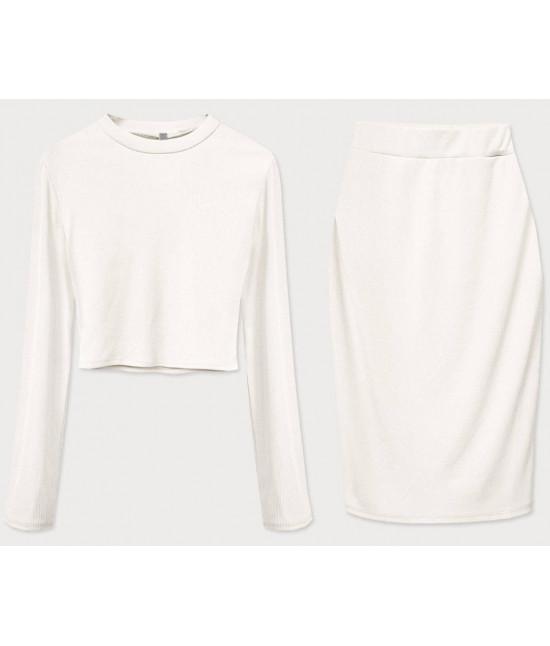 Dámsky komplet tričko + sukňa MODA654 biely