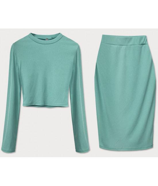 Dámsky komplet tričko + sukňa MODA654 zelený