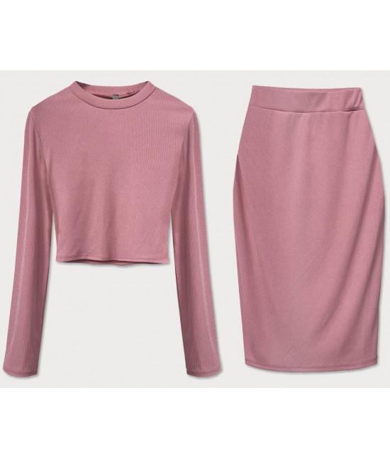 Dámsky komplet tričko + sukňa MODA654 staroružový