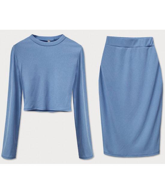 Dámsky komplet tričko + sukňa MODA654 modrý