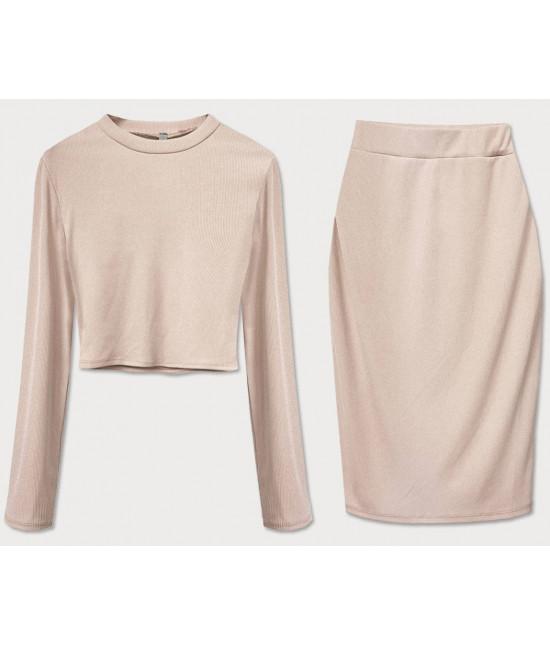 Dámsky komplet tričko + sukňa MODA654 béžový