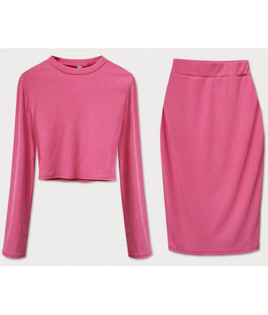 Dámsky komplet tričko + sukňa MODA654 ružový