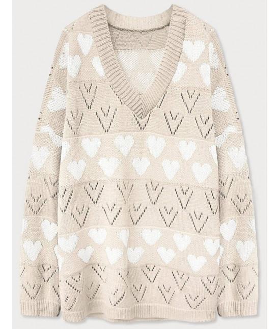 Dámsky sveter MODA670 béžový