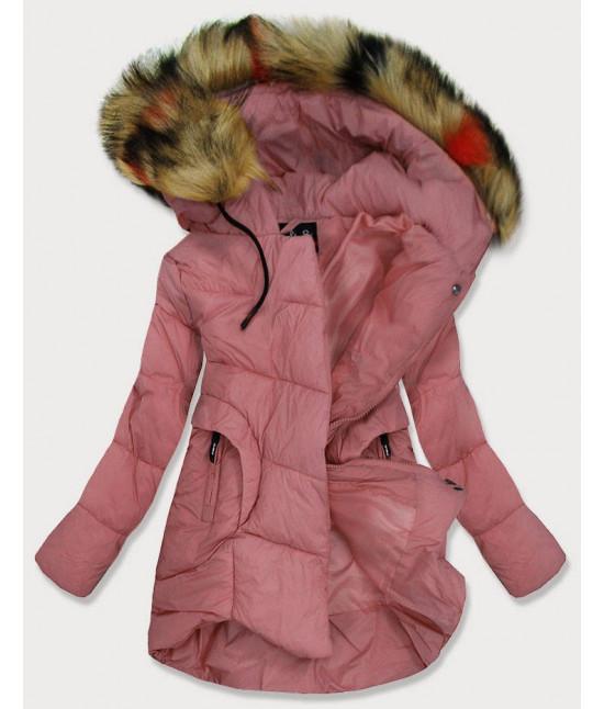 Dámska prešívaná zimná bunda MODA209 ružová veľkosť XL