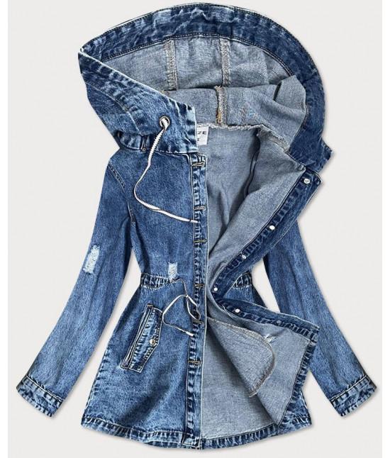 Dlhá dámska jeansová bunda s kapucňou MODA805 veľkosť S