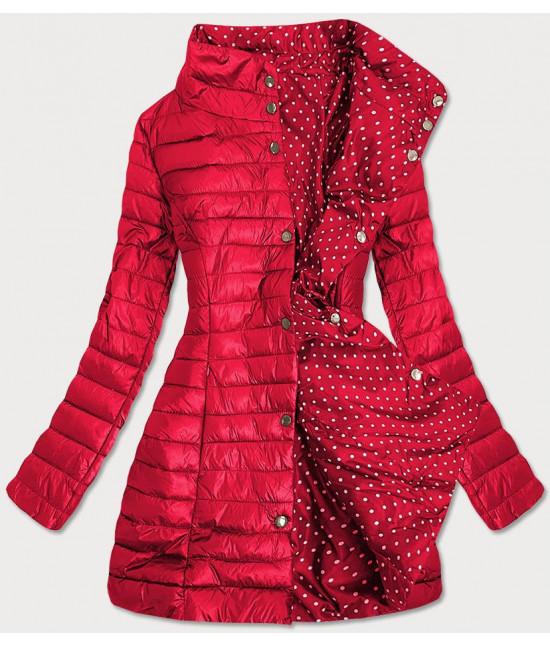 Dámska obojstranná jarná bunda  MODA033 červeno-bodkovaná M