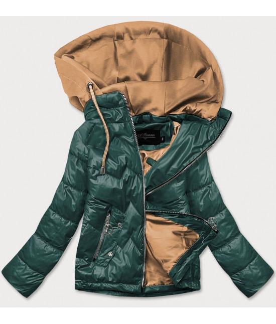Dámska jarná bunda s kapucňou MODA003 zeleno-karamelová