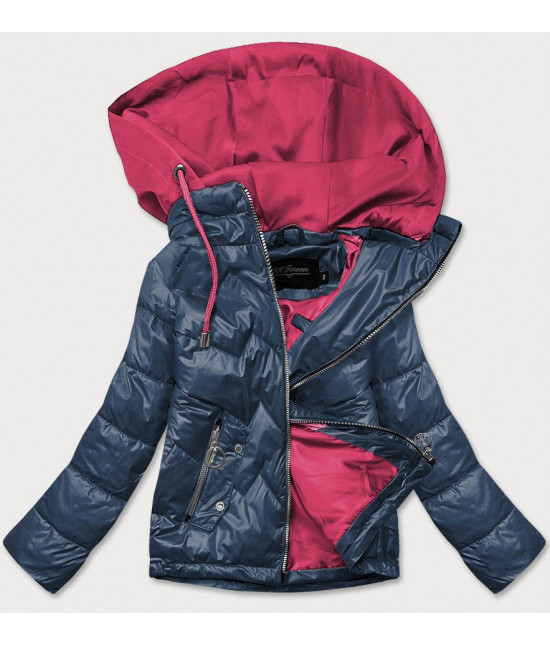 Dámska jarná bunda s kapucňou MODA003 modro-ružová
