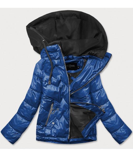 Dámska jarná bunda s kapucňou MODA003 modro-čierna
