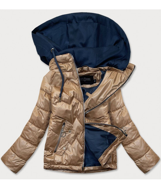 Dámska jarná bunda s kapucňou MODA003BIG karamelovo-modrá