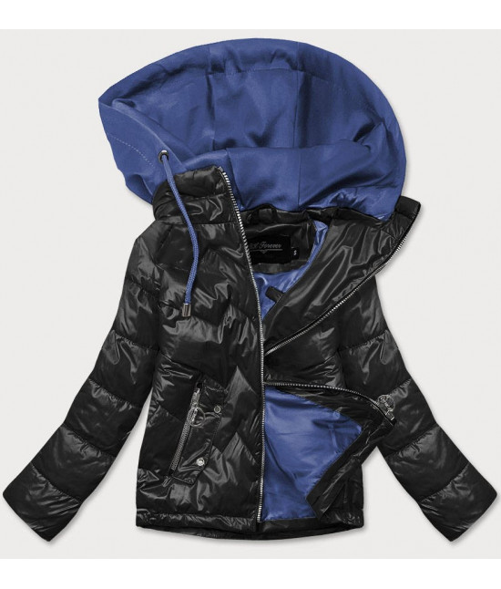 Dámska jarná bunda s kapucňou MODA003BIG čierno-modrá