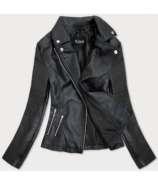 Dámska kožená bunda MODA112 čierna veľkosť M