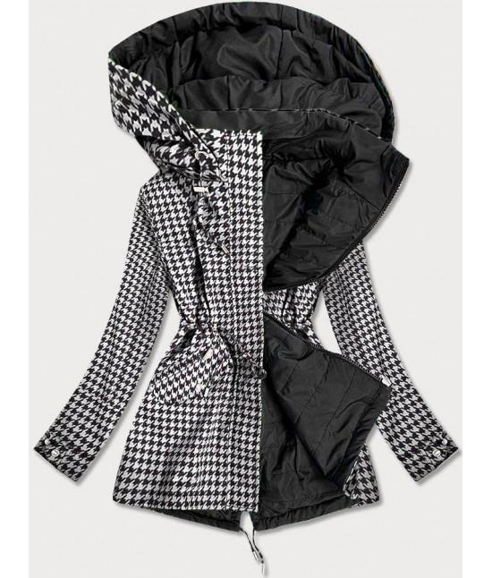 Obojstranná jarná bunda parka MODA506 bielo-čierna XXL