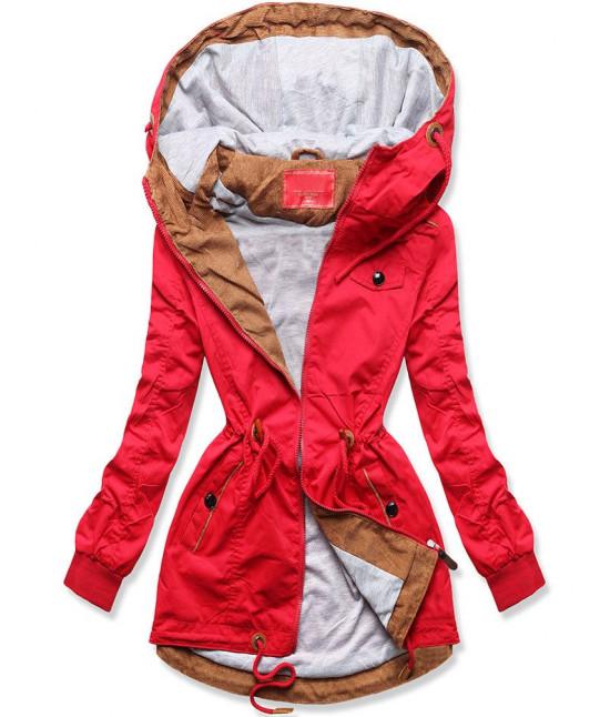 Dámska jarná bunda MODA335 červená veľkosť  XXL
