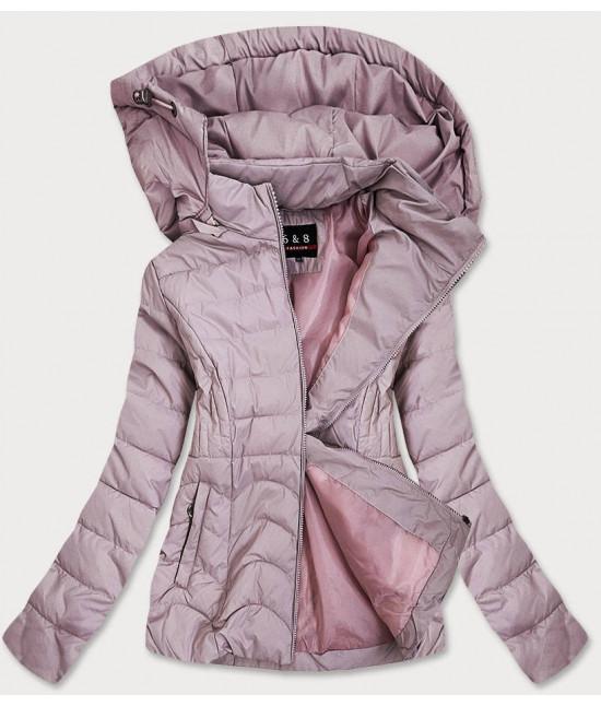 Dámska jarná bunda MODA939BIG ružová veľkosť 4XL