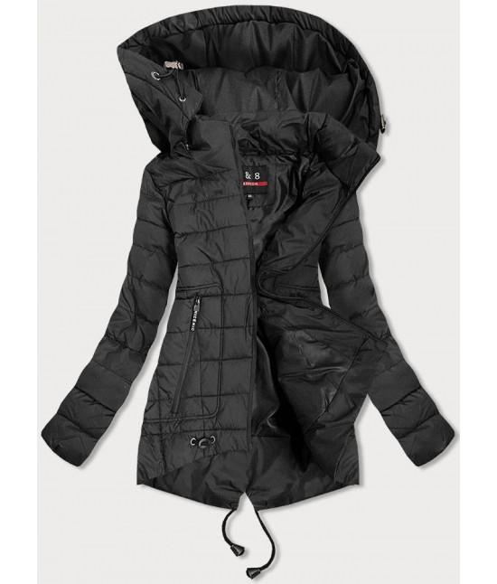 Asymetrická prešívaná dámska bunda MODA936 čierna veľkosť 7XL