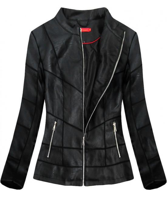 Dámska koženková bunda MODA016 čierna veľkosť 4XL