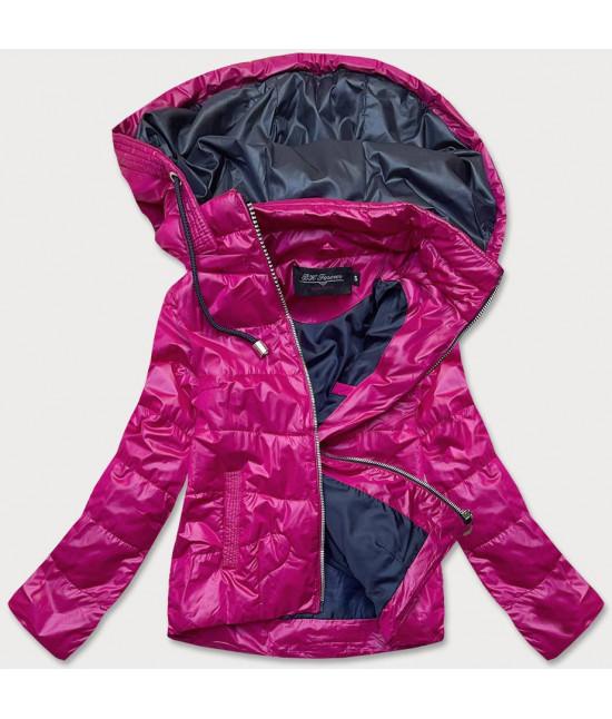 Dámska jarná bunda MODA005 ružovo-tmavomodrá