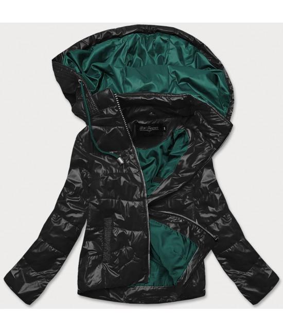Dámska jarná bunda MODA005 čierno-zelená