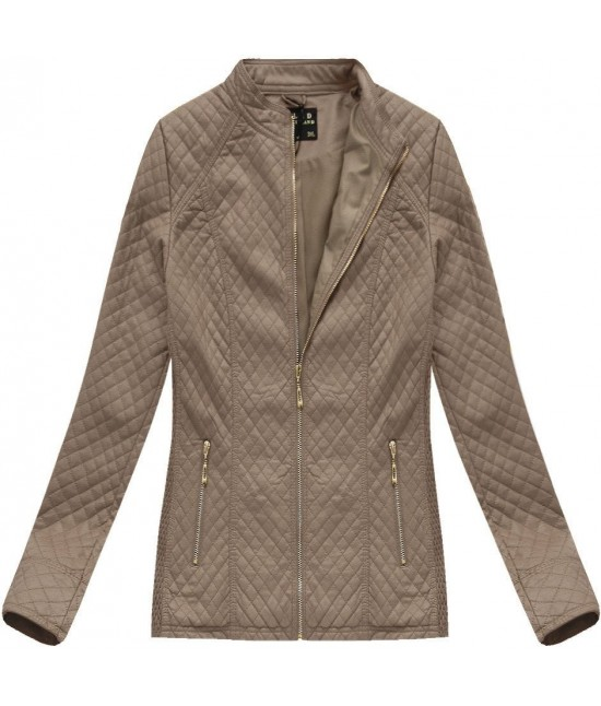 Dámska koženková bunda MODA087BIG hnedá