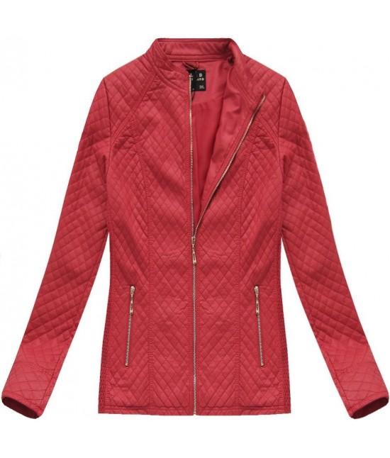 Dámska koženková bunda MODA087BIG červená