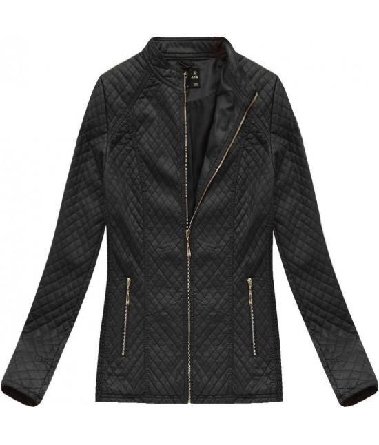 Dámska koženková bunda MODA087BIG čierna