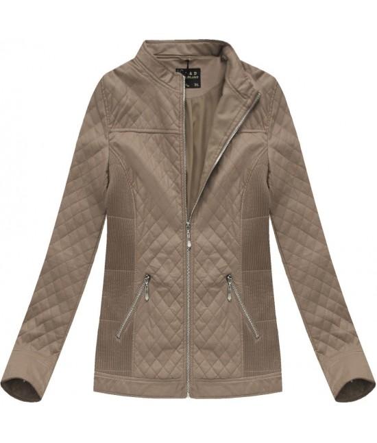 Dámska koženková bunda hnedá 5037BIG